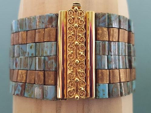 Turquoise Picasso and Bronze Tila Bead Loom Bracelet