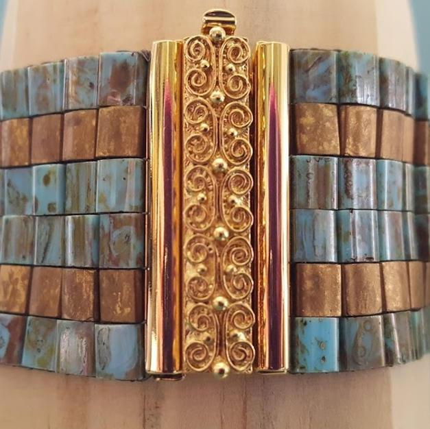 Turquoise Picasso and Bronze Tila Loom Bracelet - $112.00