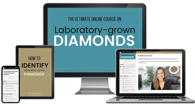 Advert for online course on lab grown diamonds with The Gem Academy with Julia Griffith the gemmologis