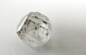 Colourless type IIa HPHT lab grown diamond cubo-octahedral crystal