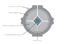 Diagram of HPHT BARS synthetic diamond production apparatus for lab grown diamond