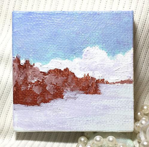 "Winter Morning Mini Landscape Painting, 2.75""x 2.75"""