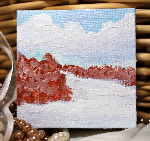 "Christmas Morning - Mini Landscape Painting, 2.75""x 2.75"""
