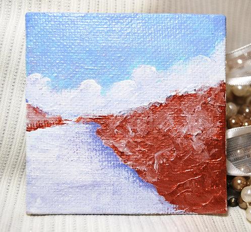 """Snowy River - Miniature Landscape Painting, 2.75""""x 2.75"""""""