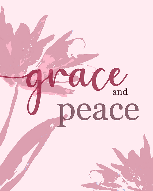 Grace and Peace, Cherry Berry - Typography Print