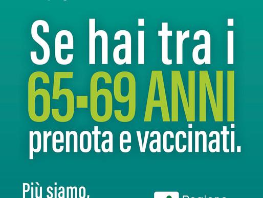 Vaccinazioni: da lunedì 19 aprile via alle prenotazioni anche per la fascia 65-69 anni