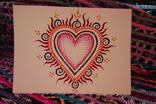 """""""Love on Fire""""- HandPainted Blessing Card     (large)"""