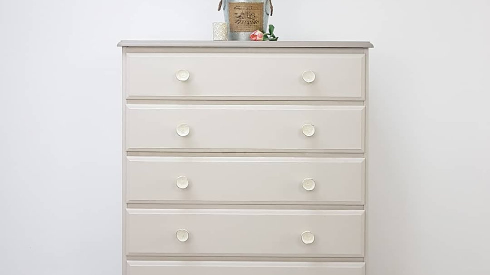 SOLID PINE 6 DRAWER  TALLBOY WITH JEWEL CERMIC KNOBS