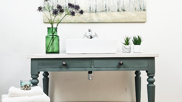 BATHROOM VANITY UNIT WASHSTAND, GREY WITH A MARBLE TOP, SINK,CHROME TAP, TRAP AN