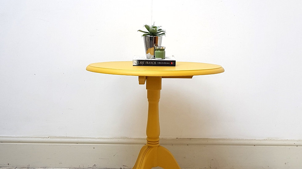 YELLOW MUSTARD ROUND OCCASIONAL SIDE TABLE