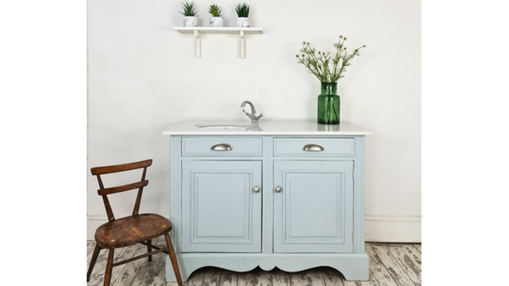 BATHROOM VANITY UNIT WASHSTAND, BLUE WITH A MARBLE TOP, SINK, TAP, TRAP AND WAST