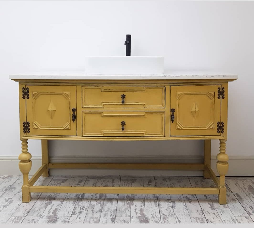 Transformed into a working vanity sink unit