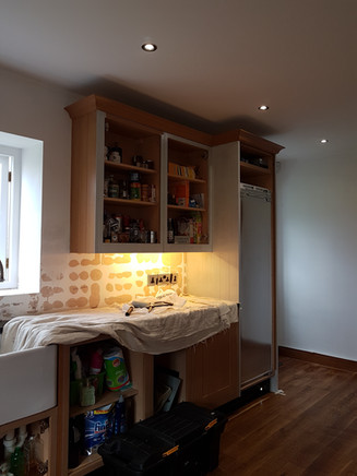 During the kitchen transformation process