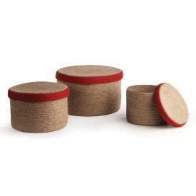 Natural and Red Hat basket set