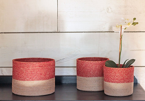RED AND JUTE BASKET SET