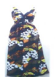 Black/White Floral Hawaiian Dress