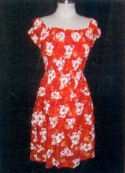 Red/White Floral Hawaiian Dress
