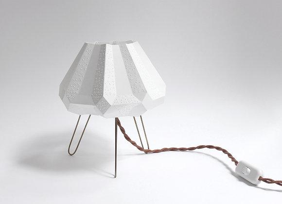 Lampe en papier et trépied en laiton style vintage