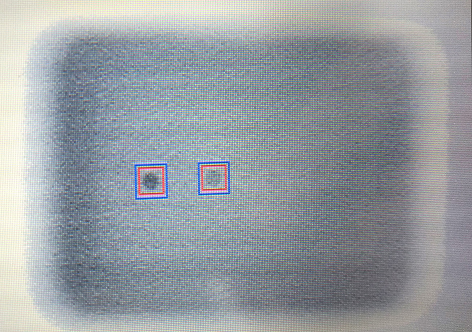 X-ray detectable image of detectable fragments