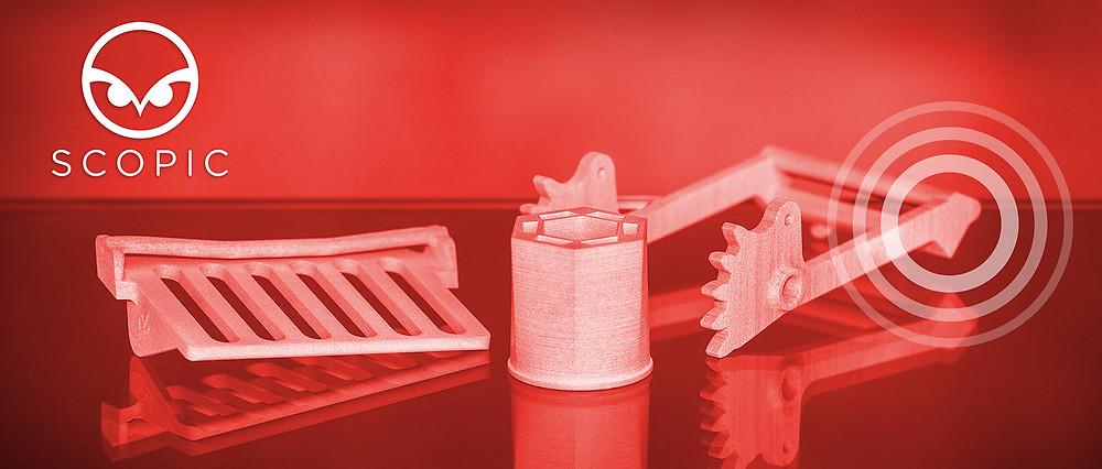 3D printed parts on orange background