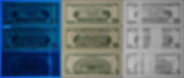 US currency in a row