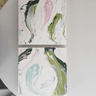 """Spring/Sprung"" acrylic/resin on wood panel by Erin Modglin Art"
