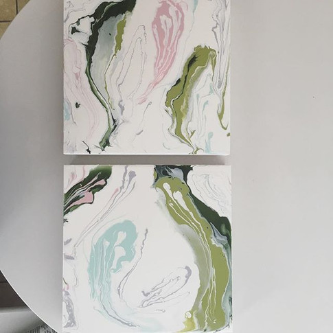 """Spring/Sprung"" acrylic/resin on wood panel by Erin Modglin Art"