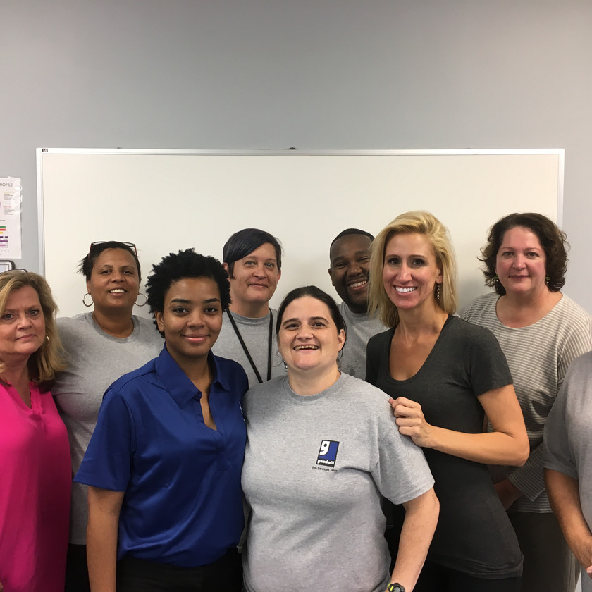 The Goodwill services staff with HiSET client Javonka