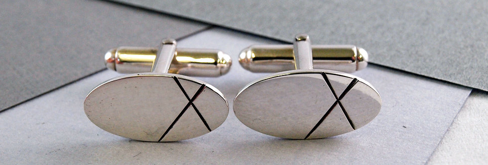 Emma Burfoot - Silver Oval Cufflinks