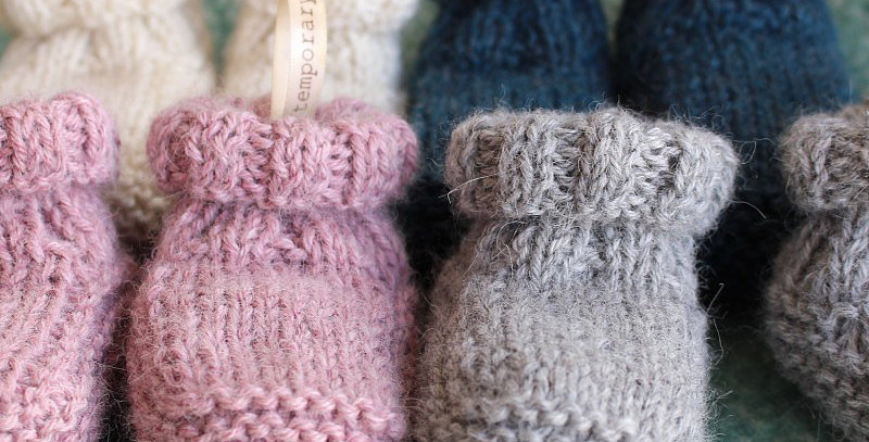 Hand Knitted Alpaca Roll Top Baby Slippers