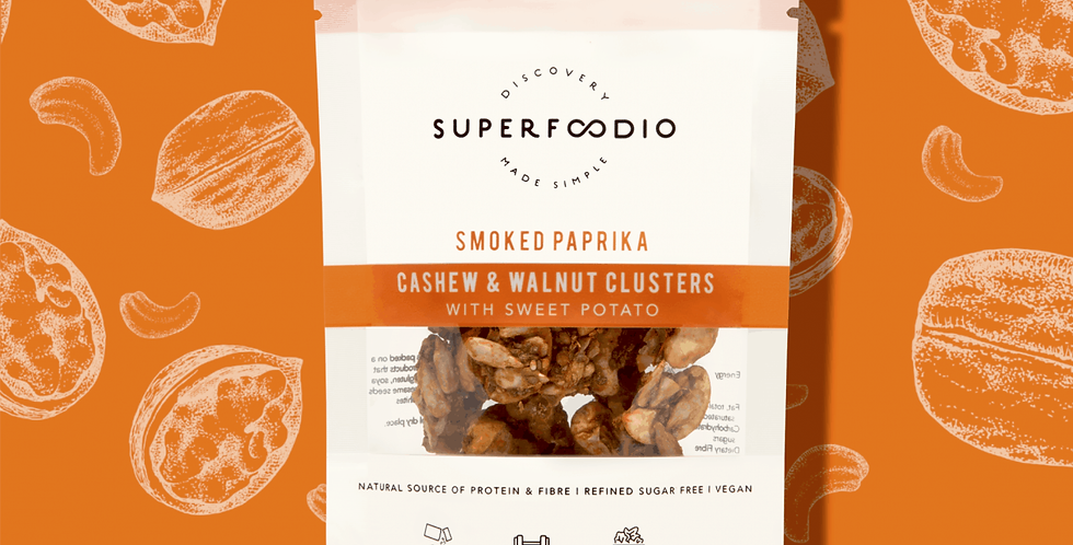 Superfoodio - Cashew & Walnuts Clusters - Smoked Paprika (30g)