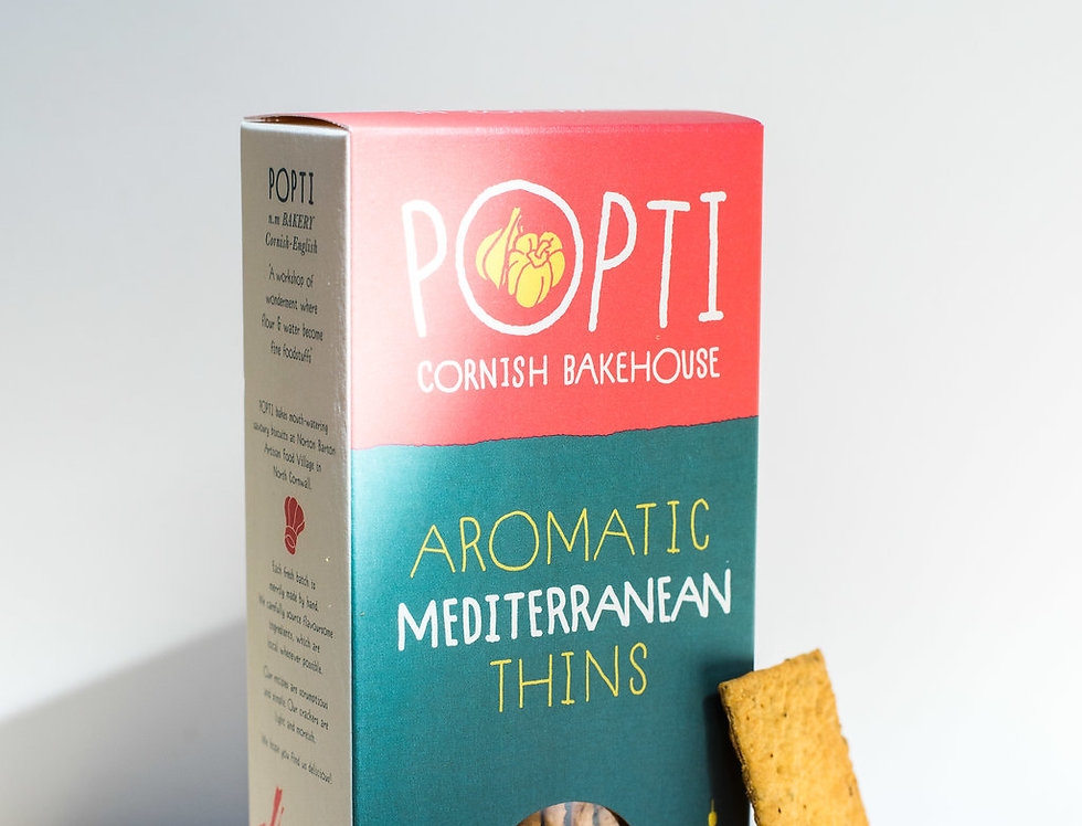 Popti Cornish Bakehouse - Aromatic Mediterranean Thins - 120g