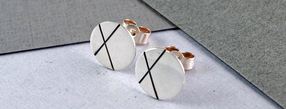 Emma Burfoot - Large Round Oxidised Stud Earrings