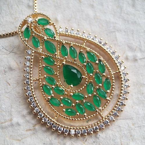 Colar Medalhão Verde