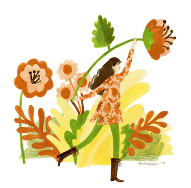 60's Lady With Flowers