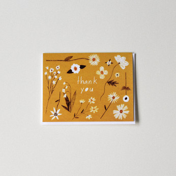 Thank You Card - Yellow Floral