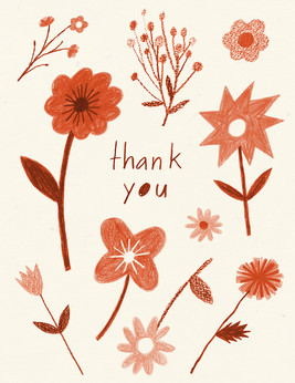 Thank You Card - Red Floral