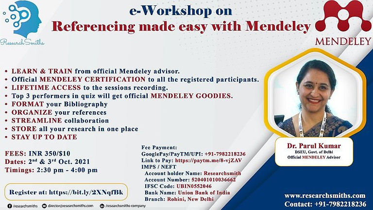 Two days e-Workshop on Mendeley Reference Manager
