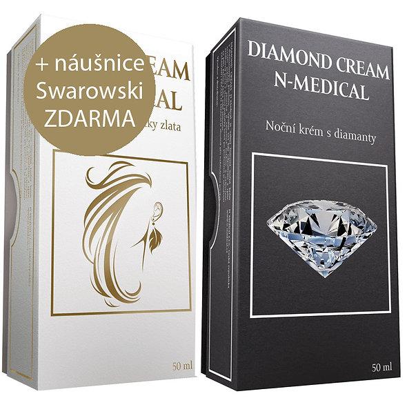 Noční krém Diamond 50ml + ZDARMA Denní krém Gold 50ml + Náušnice ZDARMA