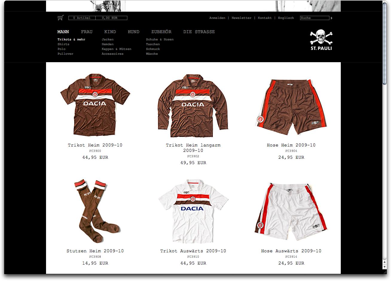 Unterseite Web-Shop