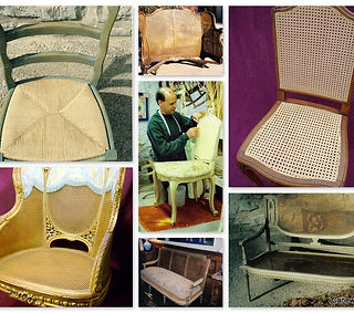Completed hand cane cane repairs completed on formal french chairs