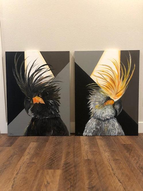 Black & Gray Birds (price per painting)