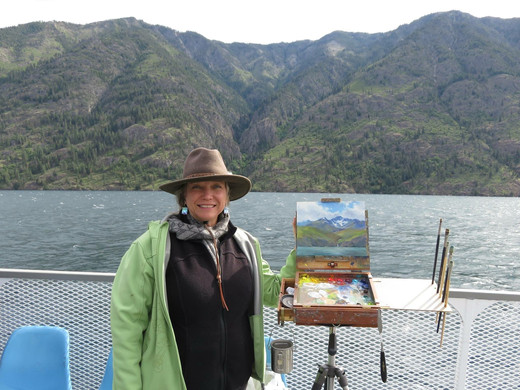 Jan Jewell painting on the ferry to Steh