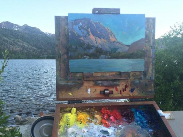 Jan Jewell Painting at Gull Lake