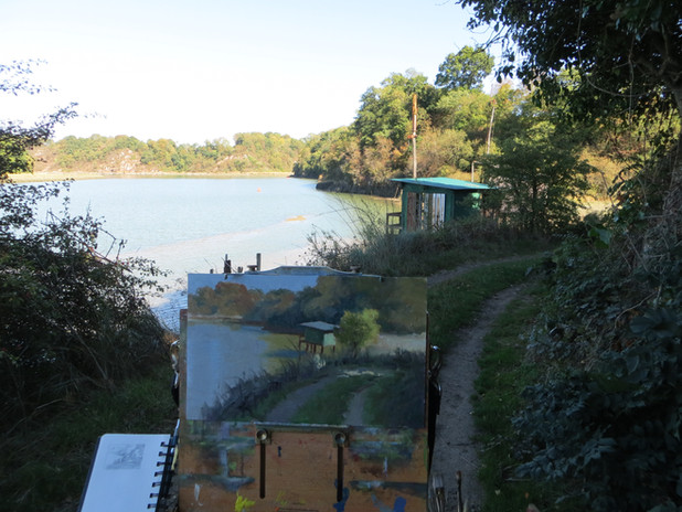 Jan Jewell painting the Fishing Shaks