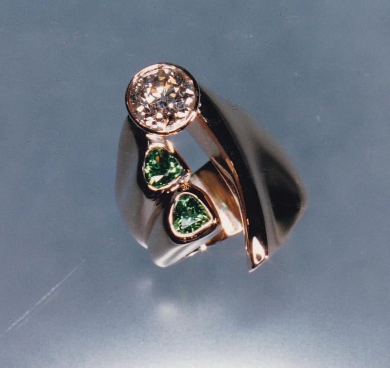 Diamond and Tsavorite Garnet Ring