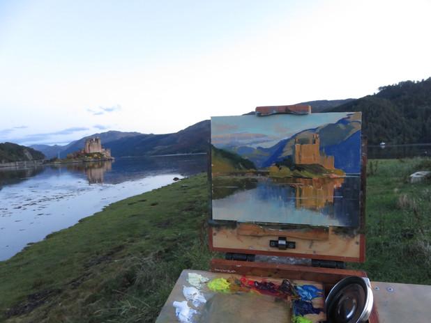 Jan Jewell Painting Eileen Donan Castle