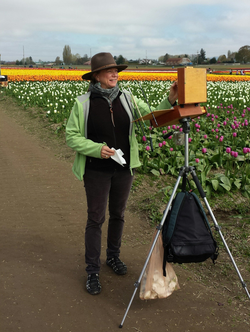 Jan Jewell painting at the Tulip Fields