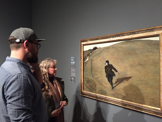 Jan Jewell at the Wyeth exhibition with Jeremy Lipking