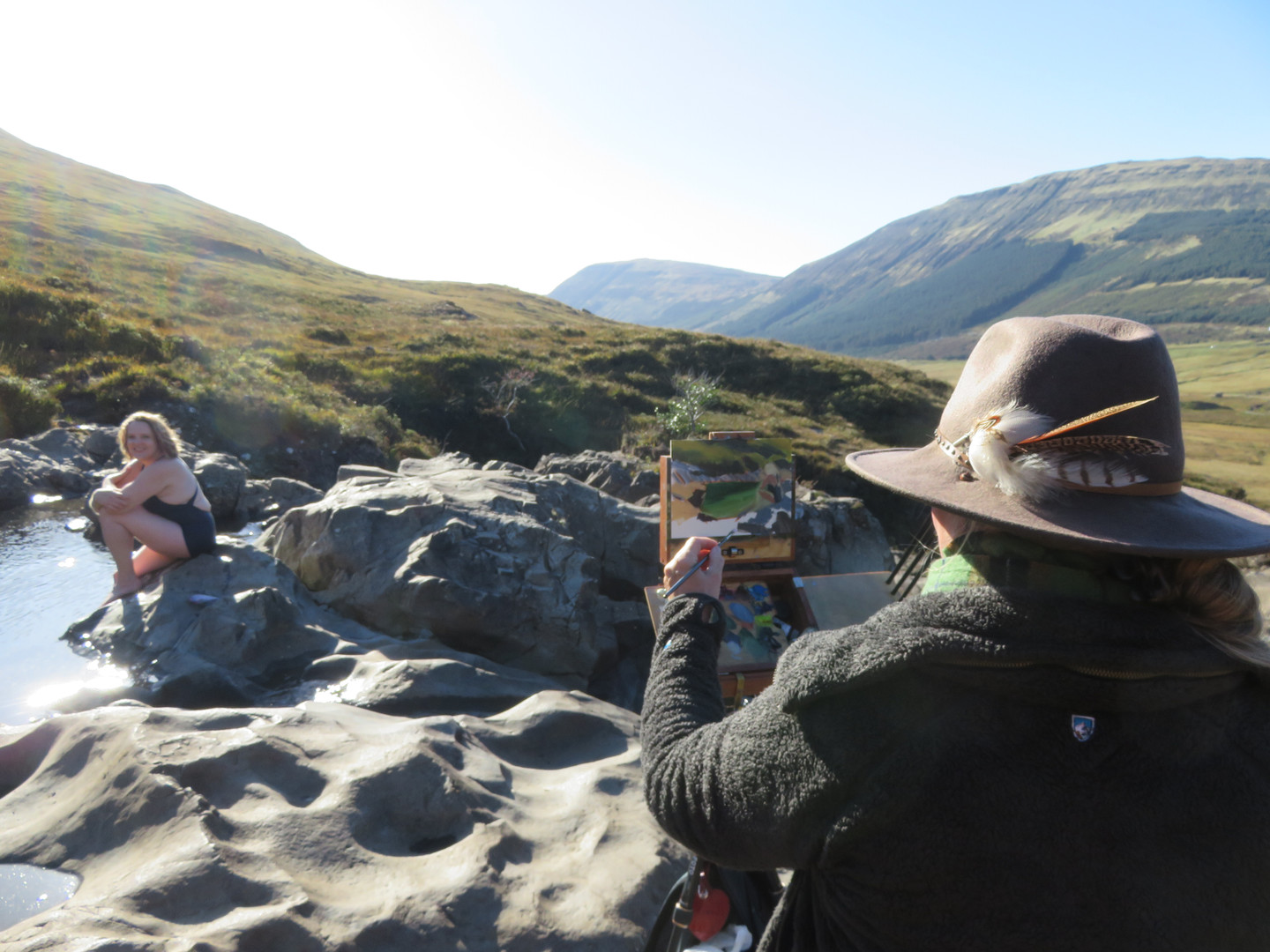 Jan Jewell painting at the Fairy Pools,